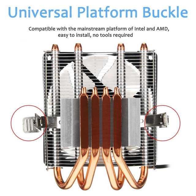 Кулер для ЦП с 4 тепловыми трубками, 90 мм 3pin вентилятор для ЦП RGB светодиодный радиатор охлаждения для LGA 775/1150/1151/1155 для AMD AM2 +/AM3 + AM4