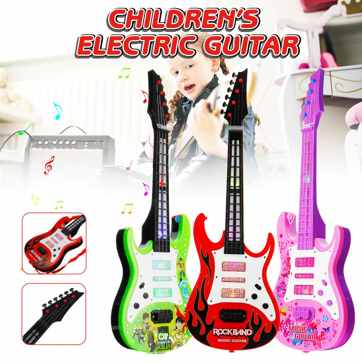 4 Strings Music Electric Guitar Kids Musical Instruments Educational Toys For Children Juguetes As New Year Gift