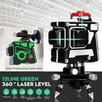 100 240V 3D 12 Line Green/Blue Light Laser Level Self Leveling 360 Rotary Measure Cross With Tripod Base 360 Rotating Green/Blue