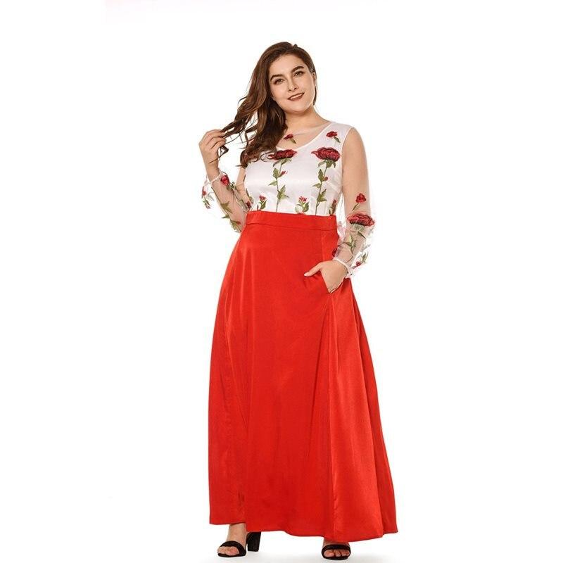 226f65a525e83 Sexy Taille Rouge Mode D'été Femmes Swing Rose Robe Plus Chic 2019 Imprimer  Robes Casual Doux Haute Maxi Maille La Longue Élégante Fqtn8wRx6