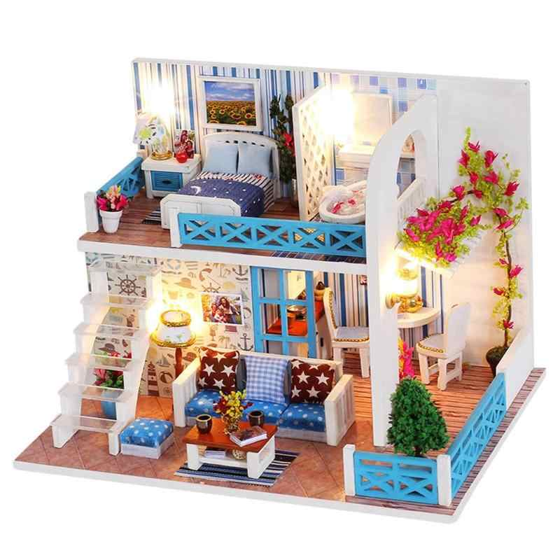 New DIY Doll House Sea View Wooden Hut Villa Assembly Model For Helen Coast Miniature Dollhouse Furniture Kit Toys Birthday Gift