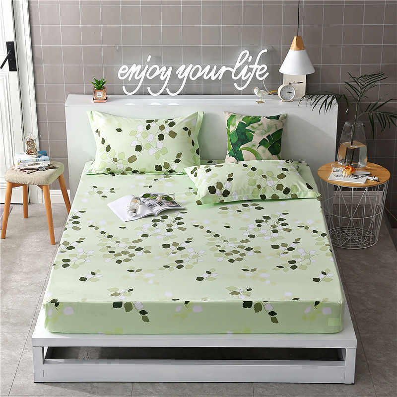 Polyester Fitted Sheet Bed Sheet Mattress Cover Printed Sanding Fabric With Elastic Band Dust Proof Adult Kids Single Size 19