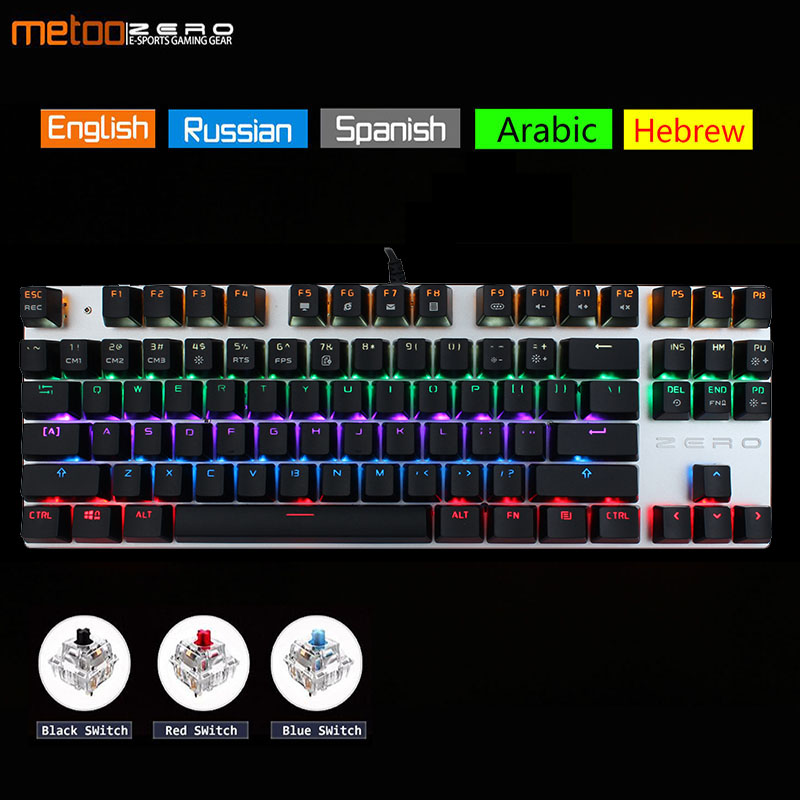 Metoo Edition Mechanical Keyboard 87 keys 104 Keys Gaming Keyboards for Tablet Desktop Russian Spanish Hebrew arabic Mouse pad(China)
