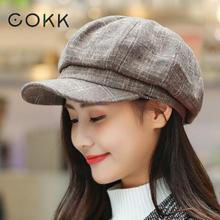 COKK Newsboy Cap Women Autumn Winter Octagonal Caps Artist Painter Hats For Men Beret Peaked Female Male Vintage PLaid