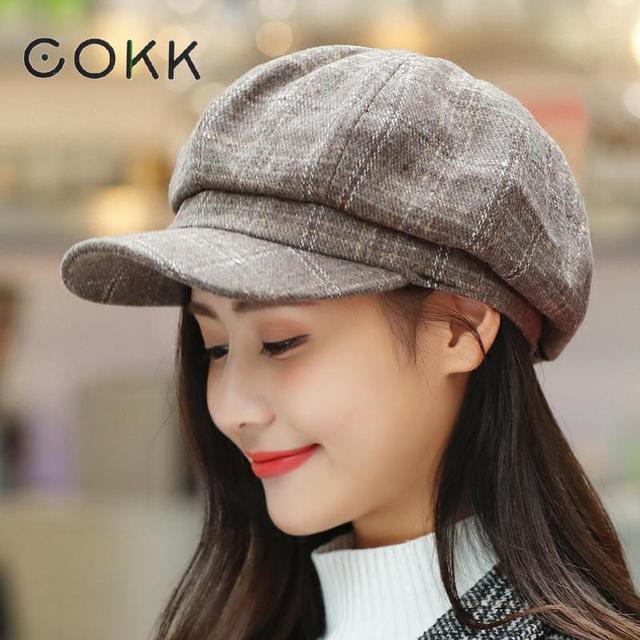 c0373f73e2c1bd COKK Newsboy Cap Women Autumn Winter Octagonal Caps Artist Painter Hats For Women  Men Beret Peaked