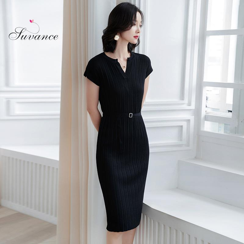Suvance 2019 Spring Office Lady Knitted 4 Solid Color Fashion Slim High Waist Short Sleeve M l Women Mid Dress Jl xy1396