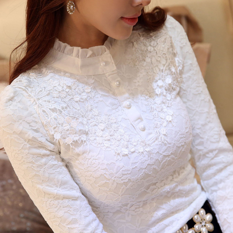 New Women Lace Embroidery Blouse Feminine Black Lace Primer Long Sleeves Shirt Plus Size 3XL Tops Blouse