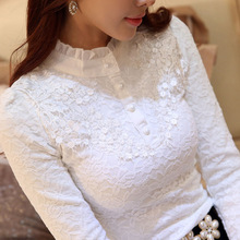 New Women Lace Embroidery Blouse Feminine Black Lace Primer Long Sleeves Shirt P