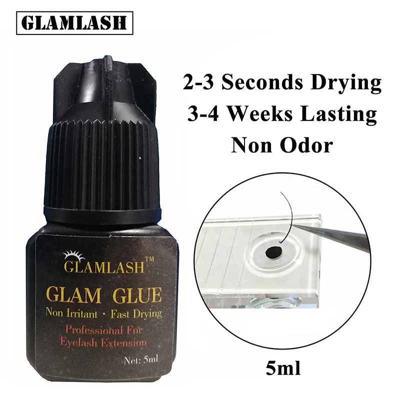 GLAMLASH 5ml/10ml 2-3s Fast Dry Non Odor No Simulation Eyelash Extension Glue Individual Strong False Eye Lash Glue Adhesive