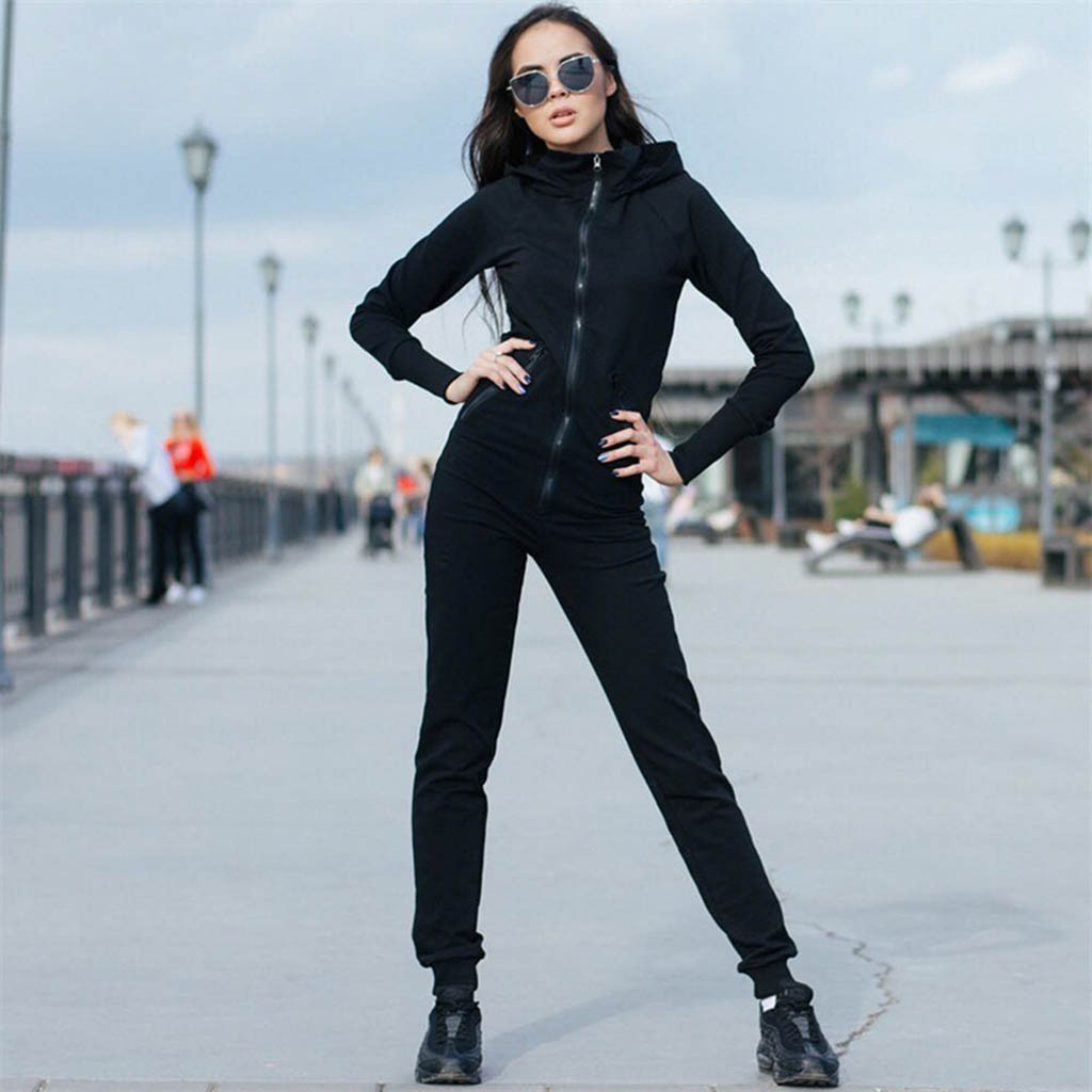 Solid Zipper Slim Fit woman Jumpsuit Long Sleeve v-neck Sportswear Rompers Casual spring streetwear Clothes Overall Top Jumpsuit