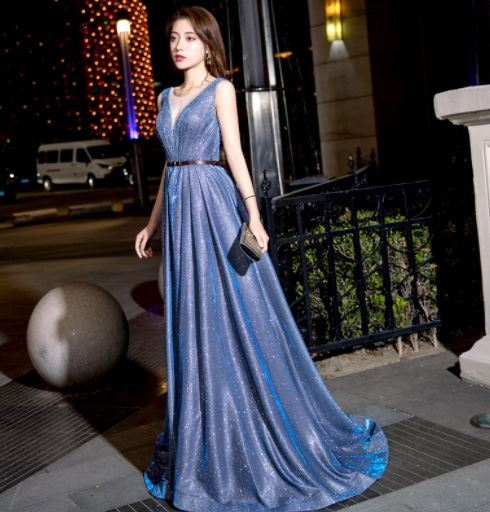 Xnxee Lace Appliques V neck Long Dress The Bride Sexy Sleeveless Lace up Back Beading Party