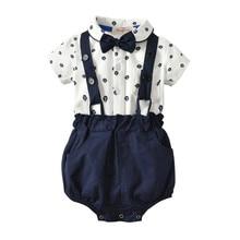 6136cd886 Niño niños bebé niño 2 piezas trajes caballeros arco corbata Body de manga  corta + correa pantalones cortos Niño fiesta ropa con.