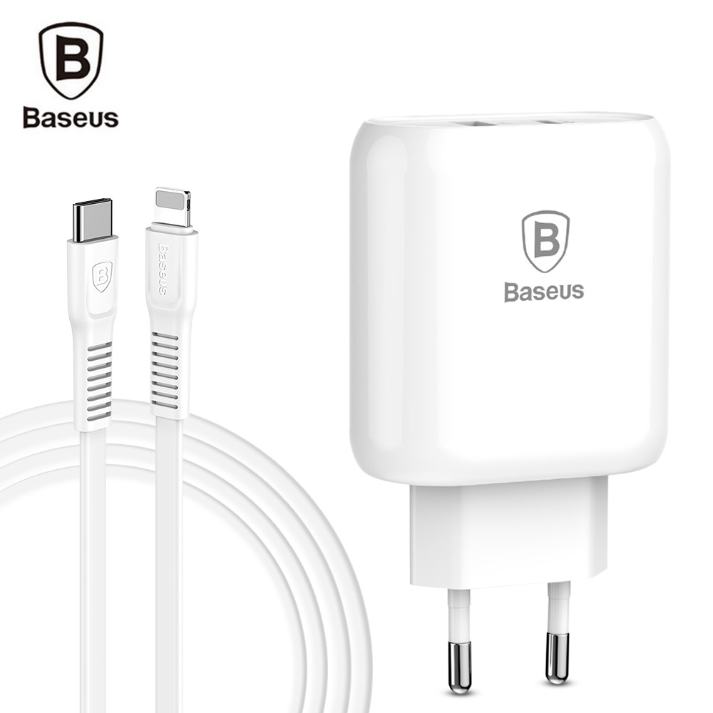 Baseus Bojure Series 32W Charging Set Charger Adapter and Cable Type-C PD3.0 and USB Quick Charger + Type-C to 8 Pin CableBaseus Bojure Series 32W Charging Set Charger Adapter and Cable Type-C PD3.0 and USB Quick Charger + Type-C to 8 Pin Cable