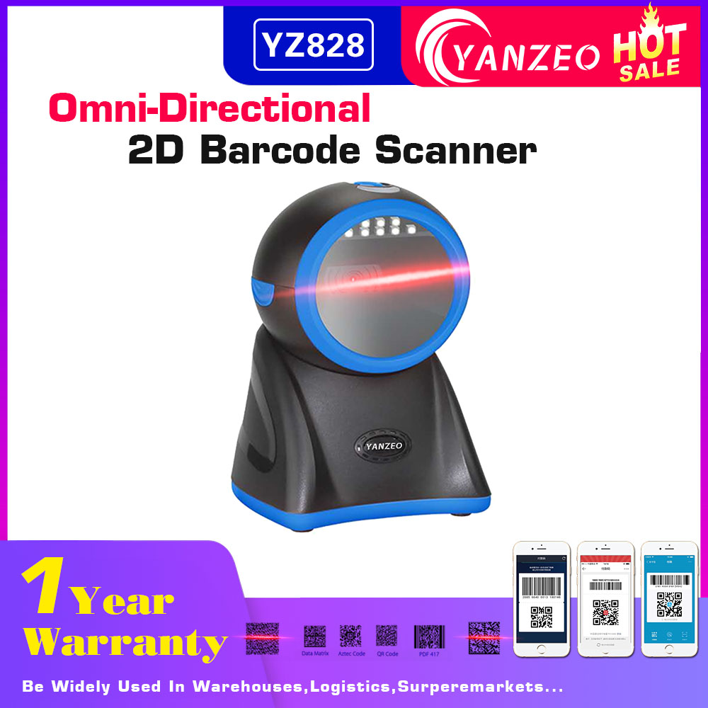 100% Wahr Yanzeo Yz828 Omni-directional High Definition Desktop Hohe Geschwindigkeit 2d Bild Barcode Scanner
