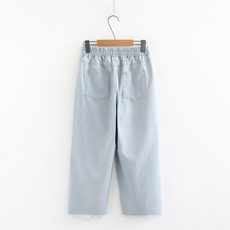 Spring/Summer Casual Plus Size Jeans Hole Women Wide Leg Pants Fashion Loose Casual Denim Pants