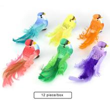 New 12 PCS Artificial Birds With Simulated Feather Green Plants Gardening Decoration Crafts Foam Fake Bird Ornaments Pendant