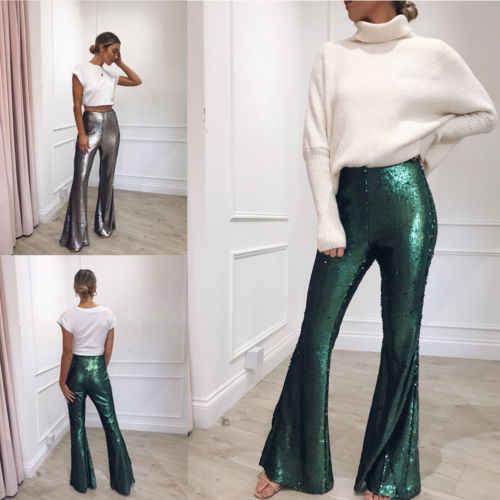 f16dae38 Fashion Women High-Waisted Retro Boho Long Pants Palazzo Vintage Wide Leg  Loose Sequin Ladies