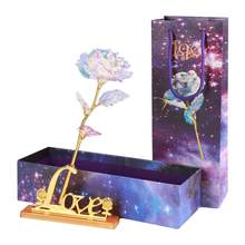 New Gold Foil Rose Crafts Send Girlfriend Mother Luxury Gift Box Teacher's Day Gift Household Decorations With Line Lights(China)