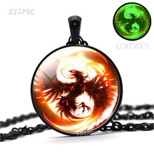 Fire Phoenix Jewelry Glow In The Dark Glass Dome Pendant Necklace Fashion Silver Bronze Black Color Chain Necklace for Men Women glowing yin yang necklace phoenix glass dome pendant tree of life silver plated chain necklace glow in the dark yin yang jewelry
