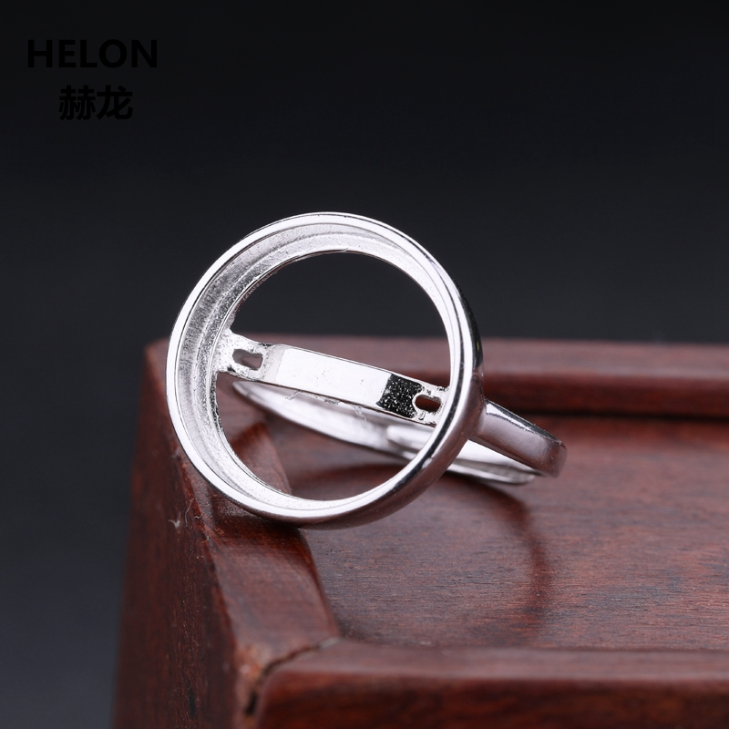 925 Sterling Silver Women Wedding Ring 13x13mm 14x14mm <font><b>15x15mm</b></font> Round Cabochon Semi Mount Ring White Gold Color Wholesale image