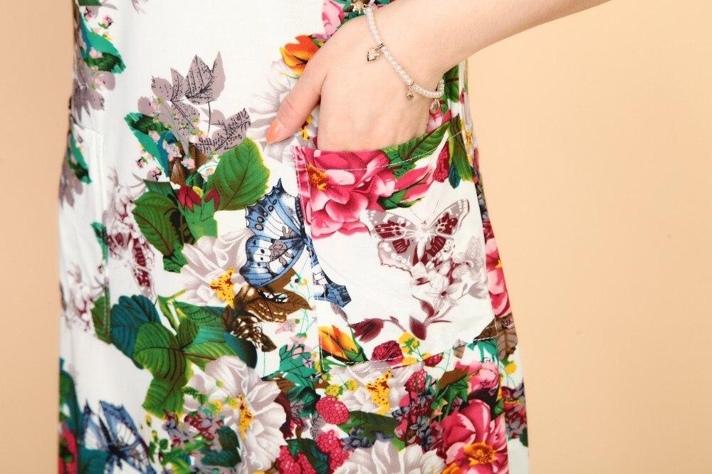 L-5XL 2019 Kvinder Kjoler Plus Size Slank Tunisk Mælke Silk Print - Dametøj - Foto 6
