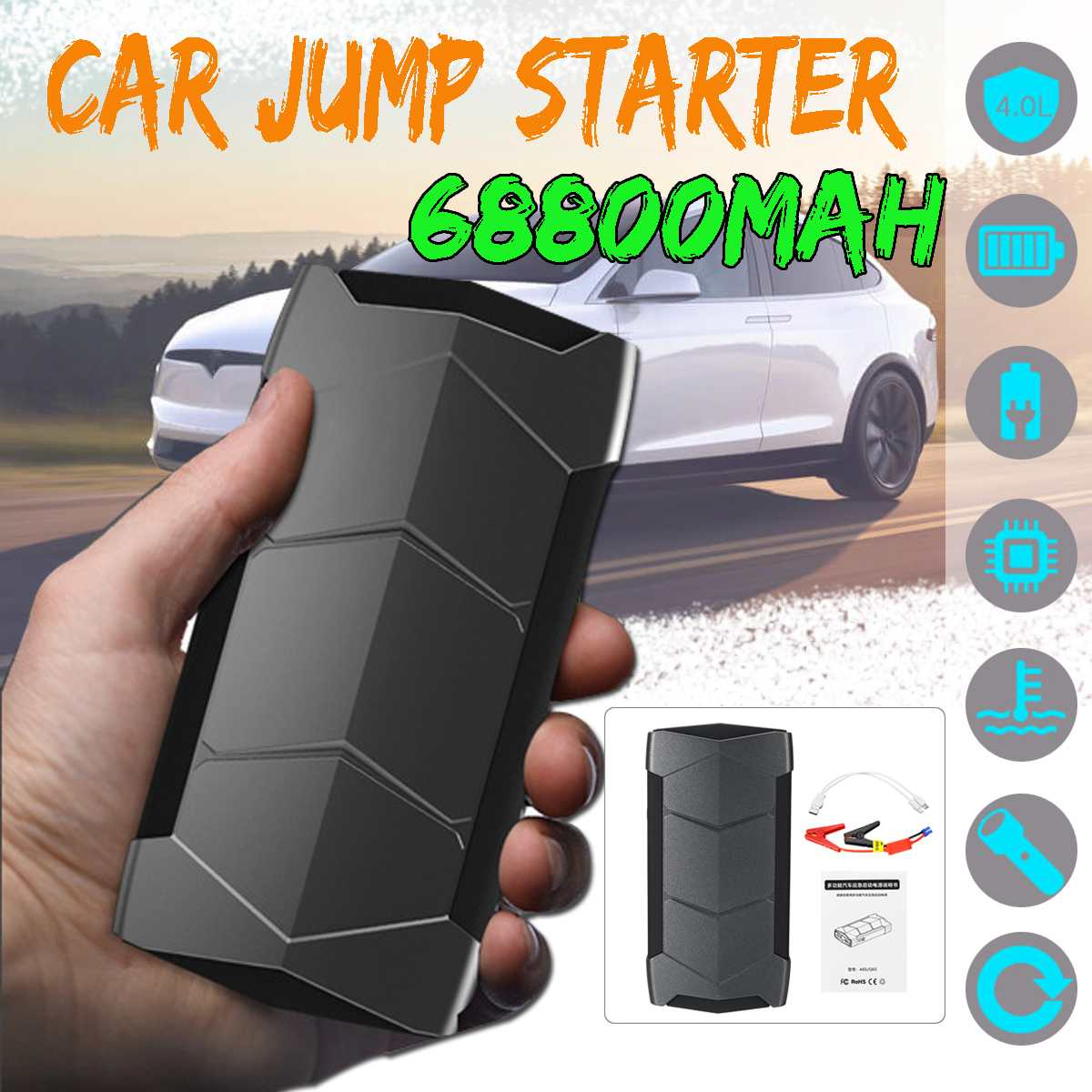 Mini Portable 12V 68800mAh/ 99900mAh Car Jump Starter Battery USB Charger Emergency Power Bank SOS LED For Starting Device