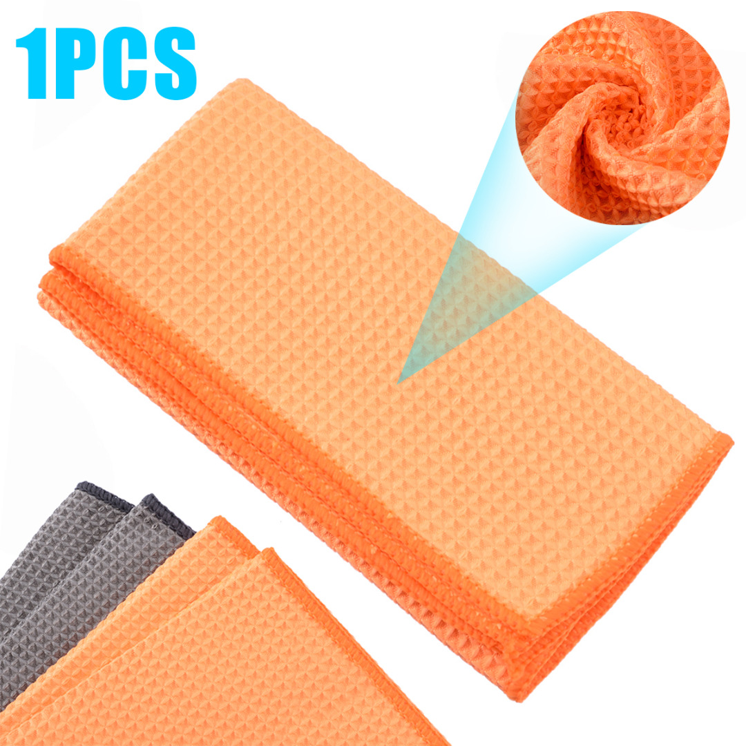 Microfiber Waffle Pattern Towel Soft Car Cleaning Wash Dry Polishing Detail Cloth For Car Home Kitchen Window-in Sponges, Cloths & Brushes from Automobiles & Motorcycles