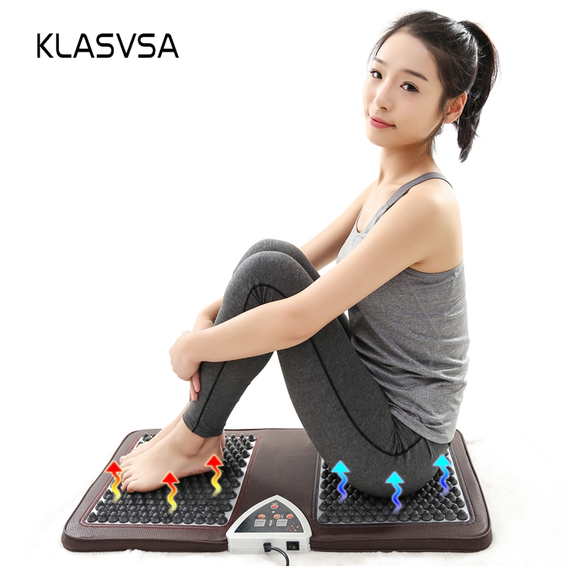 KLASVSA Far Infrared Tourmaline Mattress Massage Electric Heating Foot Thermal Mat Massager Negative Anion Stone Pain ReliefKLASVSA Far Infrared Tourmaline Mattress Massage Electric Heating Foot Thermal Mat Massager Negative Anion Stone Pain Relief