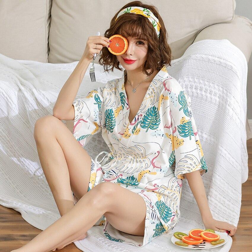 Loose Style V-neck Woman Japanese Style Kimono Pajamas Set Home Sleepwear Yukata Haori+shorts Flamingo Cotton Sauna Costumes