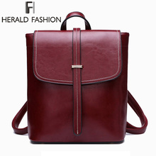 Herald Fashion Genuine Leather Women Backpack Quality Natural School for Teenage Girl Vintage Female Daily Bags