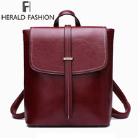 Herald Fashion Genuine Leather Women Backpack Quality Natural Leather School Backpack for Teenage Girl Vintage Female Daily Bags