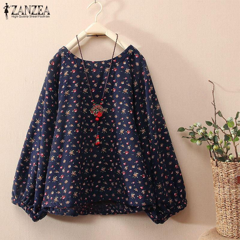 ZANZEA Women Spring Long Sleeve   Blouse   Retro Female Floral Printed Cotton Linen   Shirt   Casual Loose Top Blusas Plus Size