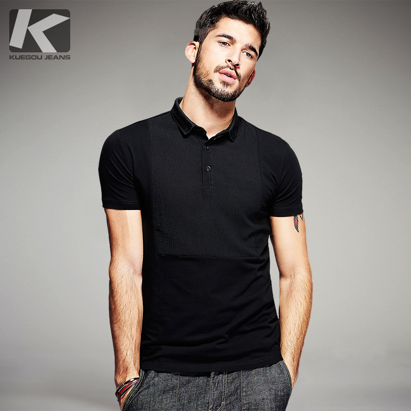 KUEGOU Summer Mens Casual   Polo   Shirts Patchwork Black Brand Clothing Man's Slim Fit Short Sleeve Clothes Male Plus Size Tops 691