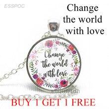 Ожерелье с мотивами Библии «изменить мир с любви», вдохновляющие цитаты, стеклянные модные украшения, христианские подвески, подарки для же...