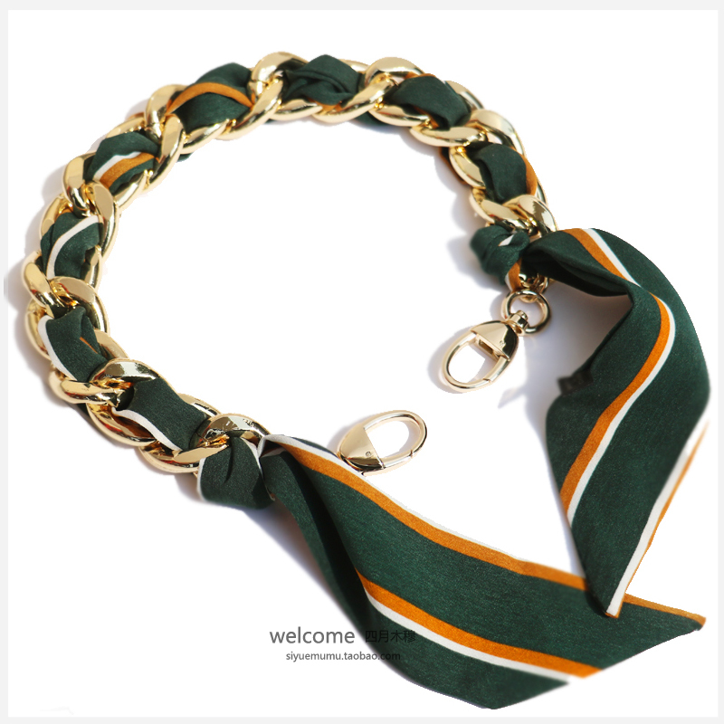 Cutting Edge Pale Gold Green Silk Ribbon Aluminum Chain Metal Package Bring Handle Chain Bag Chain Parts Bring Package Bring