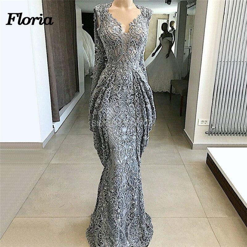 Gray Muslim   Evening     Dresses   Vestido de festa Dubai Design Long Formal Prom Gowns Arabic Islamic New Party Pageant   Evening     Dress