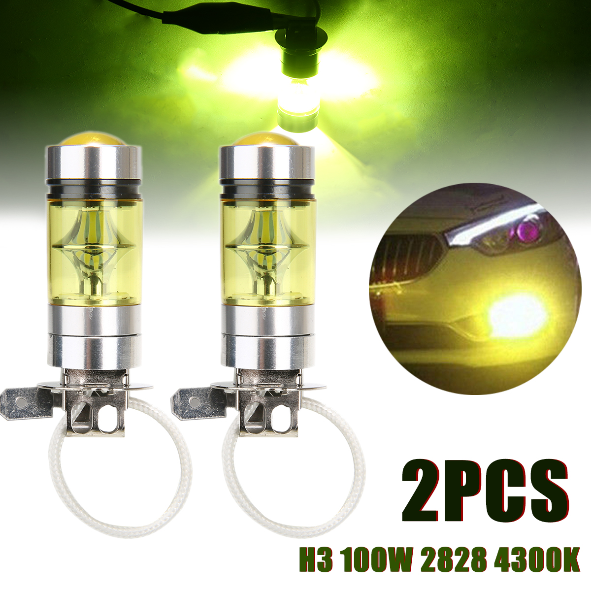 2pcs <font><b>H3</b></font> <font><b>100W</b></font> 2828 SMD <font><b>LED</b></font> Car Fog Light Tail Brake Parking Lamp Bulb Yellow 4300K 2000LM 12V-24V image