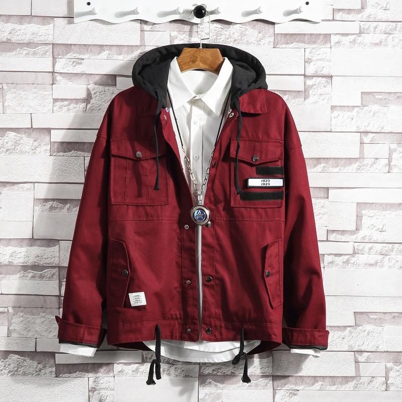 #2929 printemps japonais Streetwear Bomber veste hommes chapeau détachable rouge noir coupe-vent grande taille 5XL Hip Hop manteaux et vestes