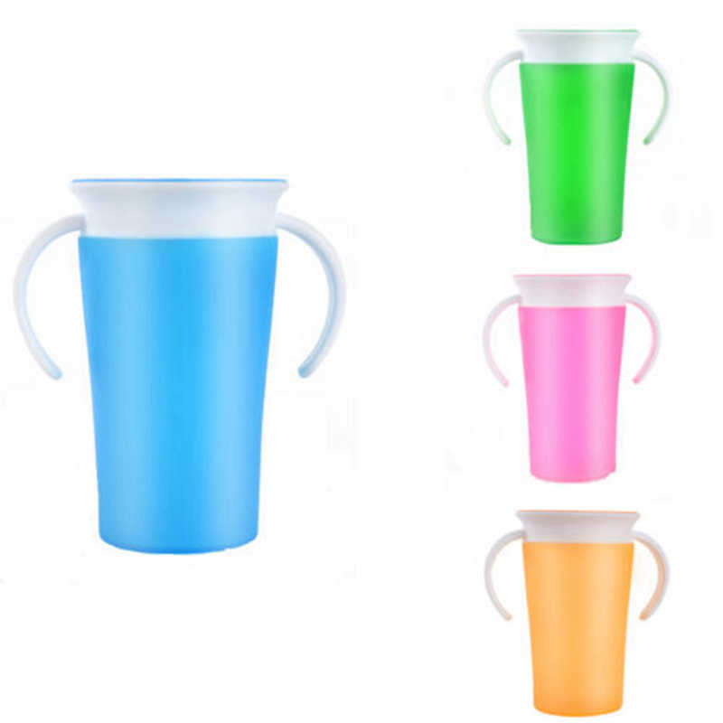 Kids Training Miracle Cup With Handles 360 Degree Drink Prevent Leaking 260ml 1Pcs Munchkin Toddlers Safe Feeding Spill Proof CC