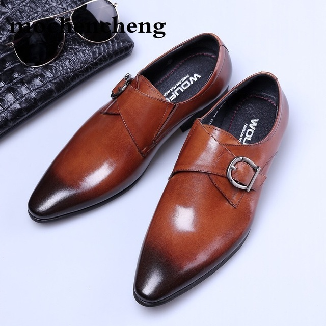 54ecf271c75 Italy Designer 2018 European Handmade Leather Men Brown Monk Strap Formal  Shoes Office Business Wedding Suit