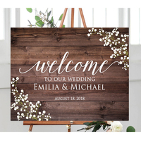 Wooden Wedding Welcome Signs, Custom Floral Wedding Welcome Sign, Personalized Floral Wedding Sign,Custom Wedding Welcome Sign
