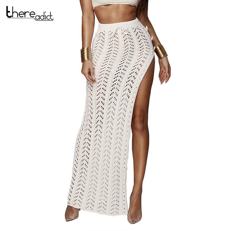 2019 Fashion Hollow Out Split Sexy Rokken Vrouwen Empire Bodycon Zomer Rokken Floor Lengte Beach Cover Up Club Rokken Punctual Timing