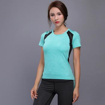 Damskie koszulki do fitnessu elastyczne koszulki sportowe do jogi Top do jogi rajstopy do biegania koszulki z krótkim rękawem koszulki z krótkim rękawem koszulki sportowe tanie i dobre opinie WOMEN Poliester spandex Anty-pilling Oddychająca Szybkie suche Pasuje prawda na wymiar weź swój normalny rozmiar Suknem
