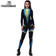 NADANBAO карнавальный костюм с 3D принтом, костюм для косплея, женский боди для женщин, Purim Carvinal, психоделический костюм на молнии размера плюс