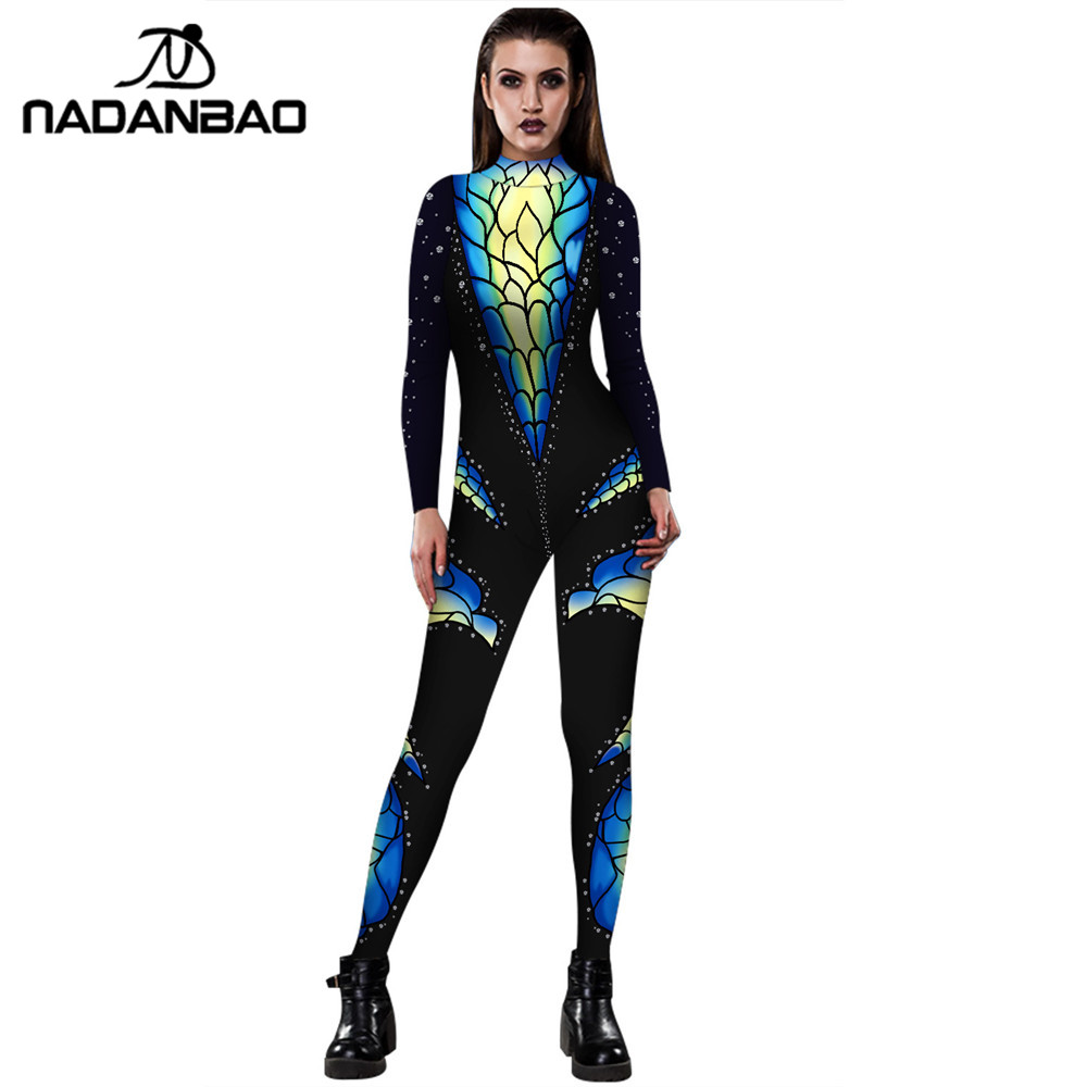NADANBAO Carnival Catsuit 3D Print Costume Cosplay Women Bodysuit For Woman Purim Carvinal Psychedelic Zipper Plus Size Catsuit