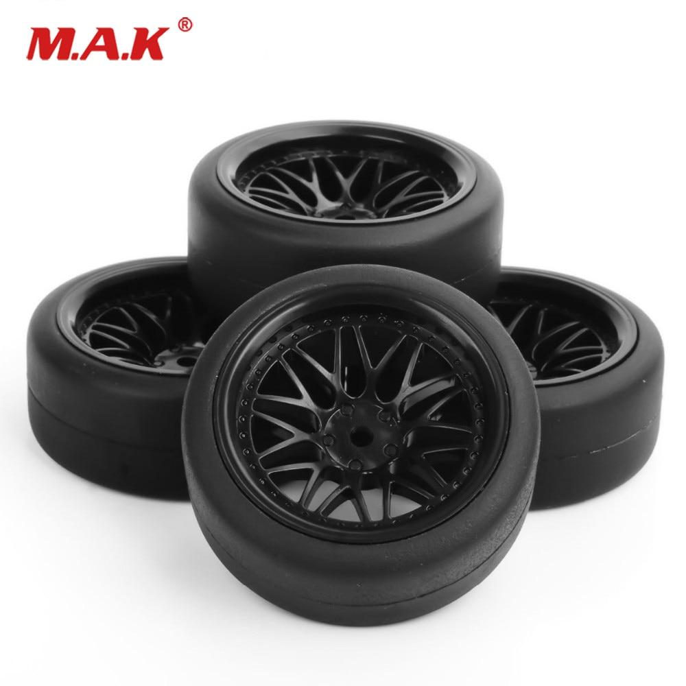 4pcs/Set 1/10 Flat Rubber Tyres & Wheel Rims Set 12mm Drive Hex For 1:10 HPI Drift RC Car Accessory Parts PP0338+BBNK(6mm)