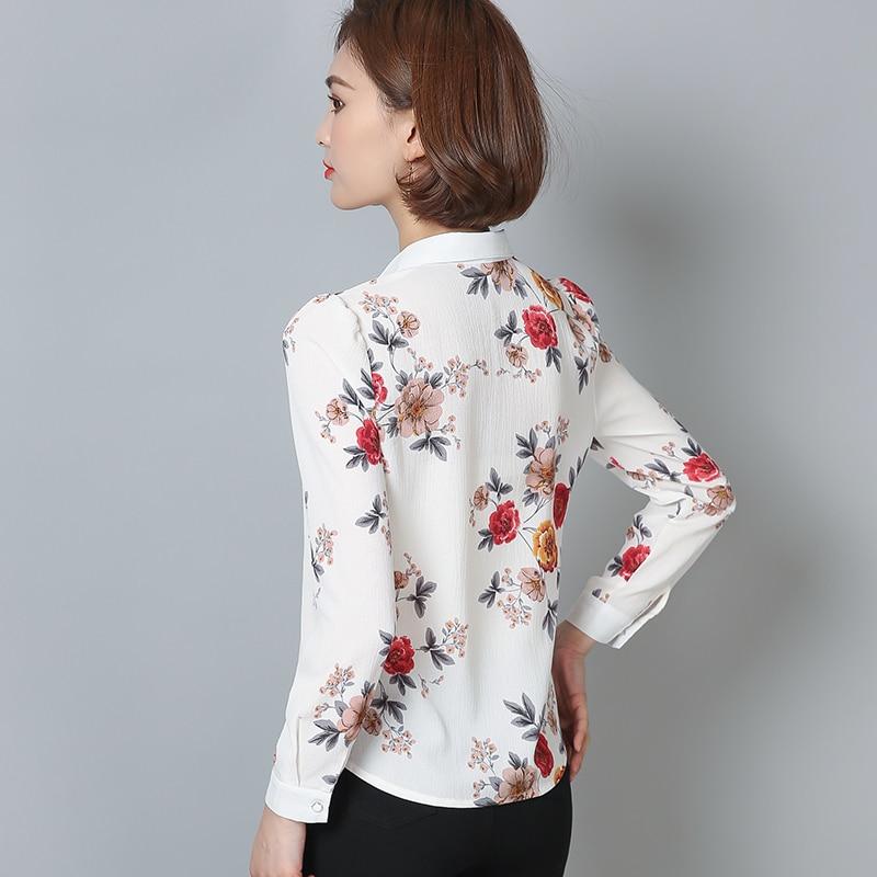 Купить женская шифоновая блузка с длинным рукавом и цветочным принтом