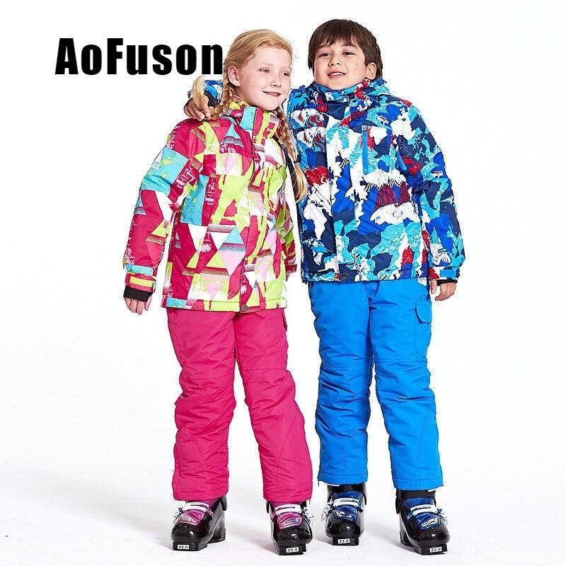 Enfants Ski costume veste & pantalon de Set imperméable coupe-vent neige Sports d'hiver enfant épaissi vêtements professionnel Ski Snowboard