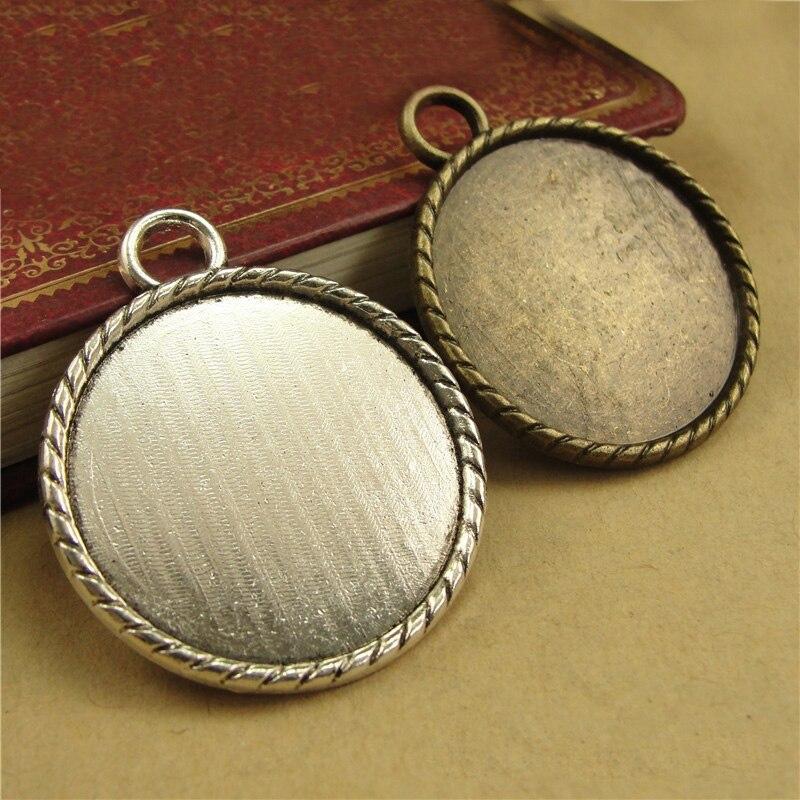 10 шт./лот 30 мм Круглая Серебряная основа для кабошона, заклепки, пустая оправа, принадлежности для изготовления ювелирных изделий, фурнитура...