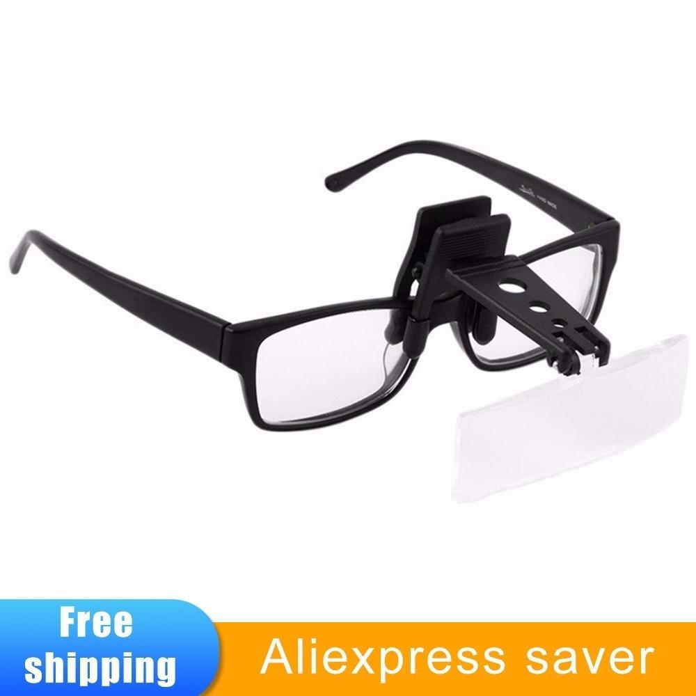 07bf55e01 Acrílico Folding Óculos Clip On Virar Lupa Lupa Lente de Vidro Estilo  Handsfree Precise Cabeça Óculos Lupa Lupas